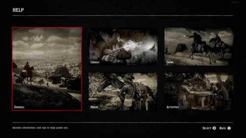 Help screenshot of Red Dead Redemption 2 video game interface.