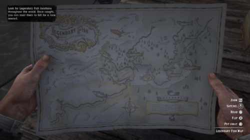 Map screenshot of Red Dead Redemption 2 video game interface.