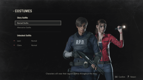Costumes screenshot of Resident Evil 2 video game interface.
