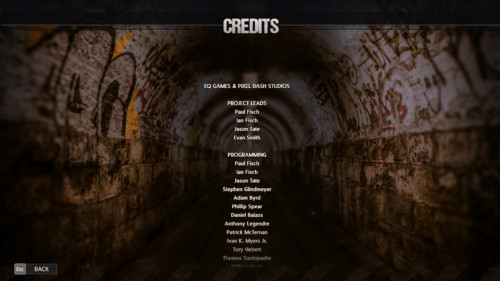Credits screenshot of Road Redemption video game interface.