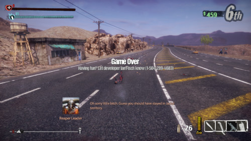 Game over screenshot of Road Redemption video game interface.