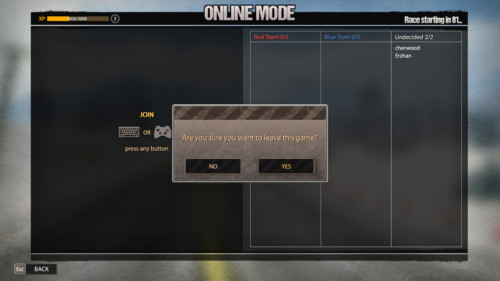Leave this game screenshot of Road Redemption video game interface.