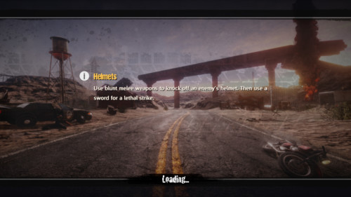 Loading screenshot of Road Redemption video game interface.