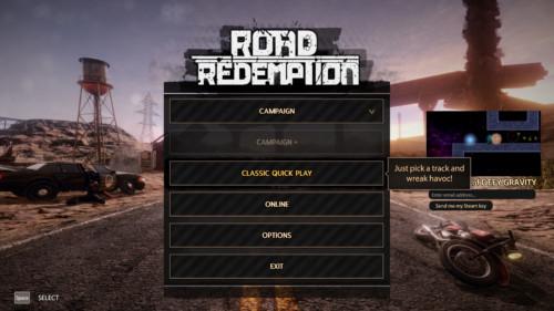Main menu screenshot of Road Redemption video game interface.