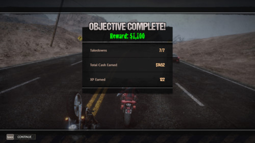 Objective complete screenshot of Road Redemption video game interface.