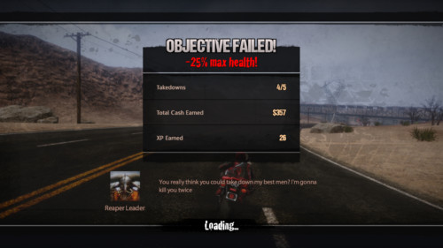 Objective failed screenshot of Road Redemption video game interface.