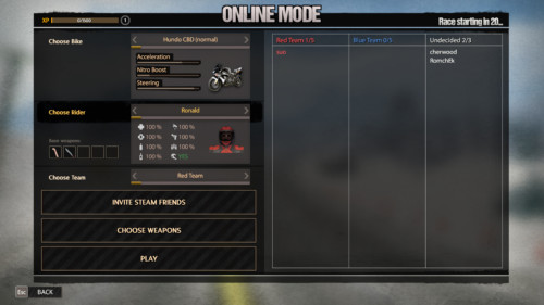 Online mode screenshot of Road Redemption video game interface.