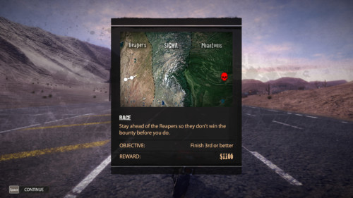 Race map screenshot of Road Redemption video game interface.