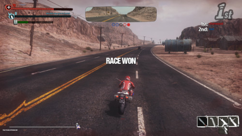 Race won screenshot of Road Redemption video game interface.