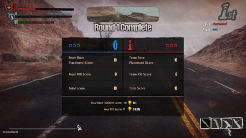 Round complete screenshot of Road Redemption video game interface.