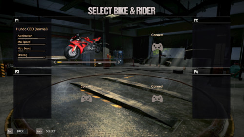 Select bike and rider screenshot of Road Redemption video game interface.