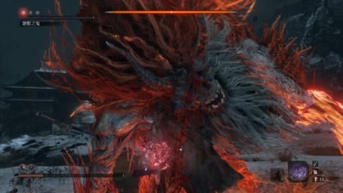 Boss fight screenshot of Sekiro: Shadows Die Twice video game interface.