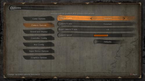 Camera options screenshot of Sekiro: Shadows Die Twice video game interface.