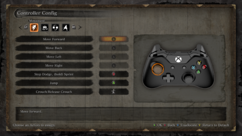 Controller config screenshot of Sekiro: Shadows Die Twice video game interface.