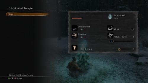 Dilapidated temple screenshot of Sekiro: Shadows Die Twice video game interface.
