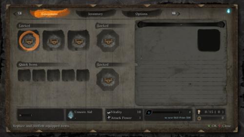 Equipment screenshot of Sekiro: Shadows Die Twice video game interface.