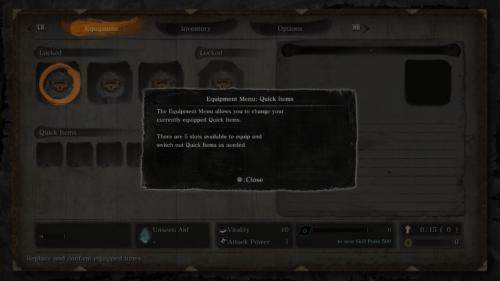 Equipment tutorial screenshot of Sekiro: Shadows Die Twice video game interface.