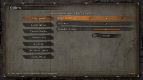 Game options screenshot of Sekiro: Shadows Die Twice video game interface.