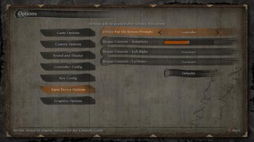 Input device options screenshot of Sekiro: Shadows Die Twice video game interface.
