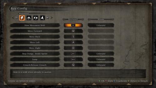 Key config screenshot of Sekiro: Shadows Die Twice video game interface.