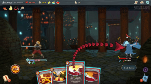 Attack enemy screenshot of Slay the Spire video game interface.
