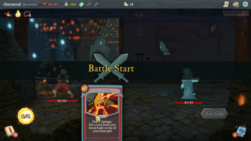 Battle start screenshot of Slay the Spire video game interface.