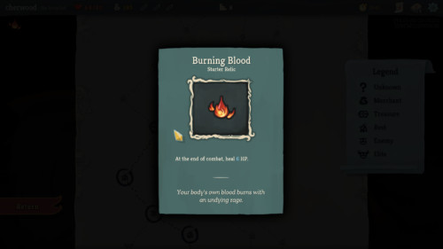 Burning blood screenshot of Slay the Spire video game interface.