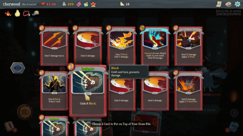 Choose a card screenshot of Slay the Spire video game interface.