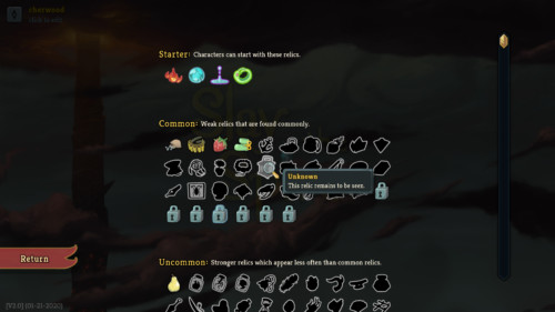 Collection screenshot of Slay the Spire video game interface.