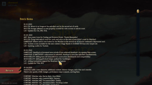 Patch notes screenshot of Slay the Spire video game interface.