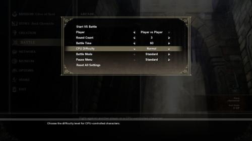 Battle setting screenshot of SoulCalibur VI video game interface.
