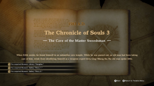 Chapter screenshot of SoulCalibur VI video game interface.