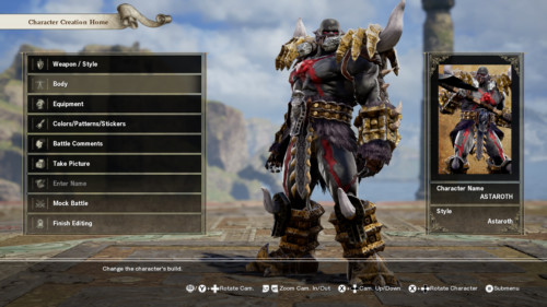 Character creation home screenshot of SoulCalibur VI video game interface.