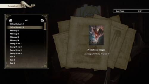 Concept art screenshot of SoulCalibur VI video game interface.