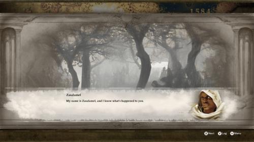 Dialogue screenshot of SoulCalibur VI video game interface.
