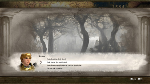 Dialogue multiple choice screenshot of SoulCalibur VI video game interface.