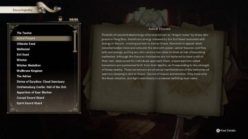 Encyclopedia screenshot of SoulCalibur VI video game interface.