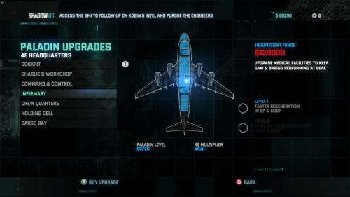 Base Upgrade screenshot of Splinter Cell: Blacklist video game interface.