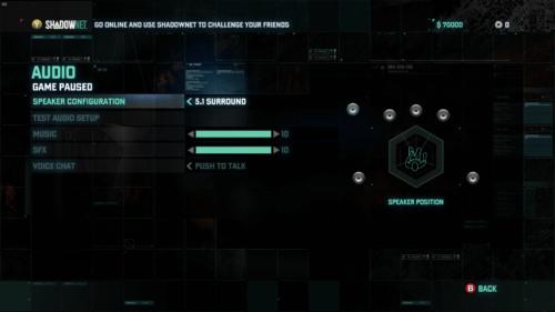 Audio screenshot of Splinter Cell: Blacklist video game interface.