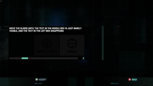 Brightness Selection screenshot of Splinter Cell: Blacklist video game interface.