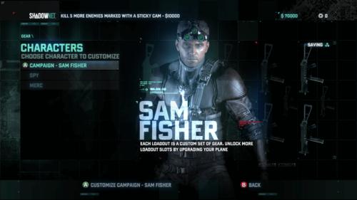 Character Selection screenshot of Splinter Cell: Blacklist video game interface.