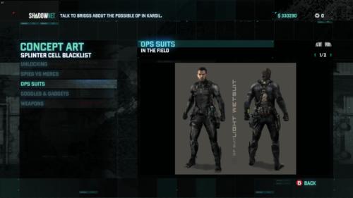 Concept Art screenshot of Splinter Cell: Blacklist video game interface.