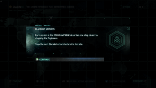 Confirmation screenshot of Splinter Cell: Blacklist video game interface.