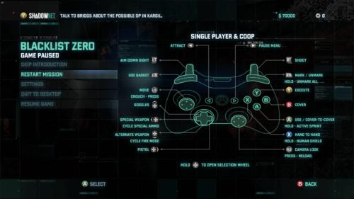 Controller Mapping screenshot of Splinter Cell: Blacklist video game interface.