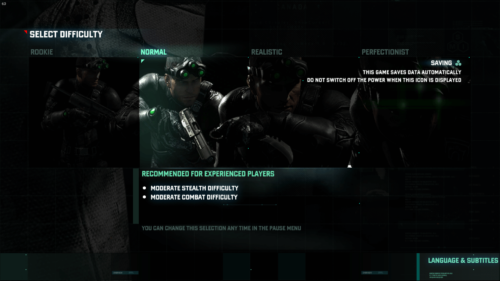 Difficulty Selection screenshot of Splinter Cell: Blacklist video game interface.