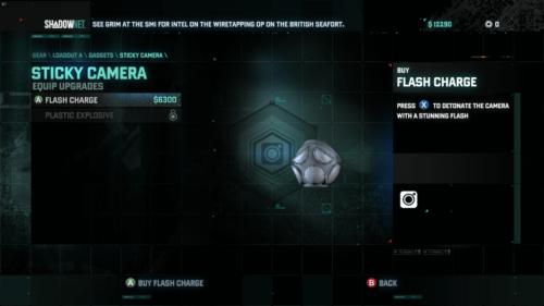 Gadget screenshot of Splinter Cell: Blacklist video game interface.