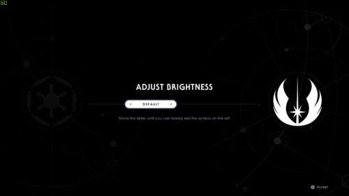 Adjust brightness screenshot of Star Wars Jedi: Fallen Order video game interface.