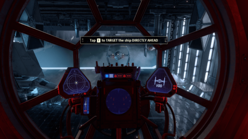 Button tutorial screenshot of Star Wars: Squadrons video game interface.