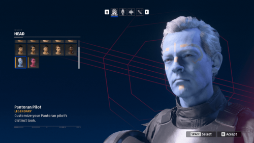 Character creation screenshot of Star Wars: Squadrons video game interface.