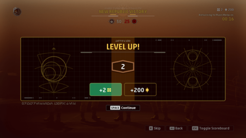 Level up screenshot of Star Wars: Squadrons video game interface.